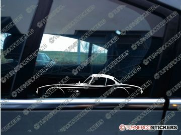 2x Car Silhouette sticker - BMW 507 classic roadster w/ hardtop